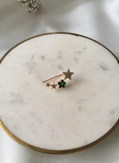 My Joyas Design Özel Seri Zirkon Taşlı ve Yeşil Yıldız Kıkırdak Küpe Altın